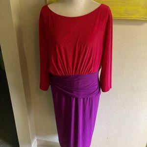 Adrianna Papell dress color block Sz 22W Good Cond